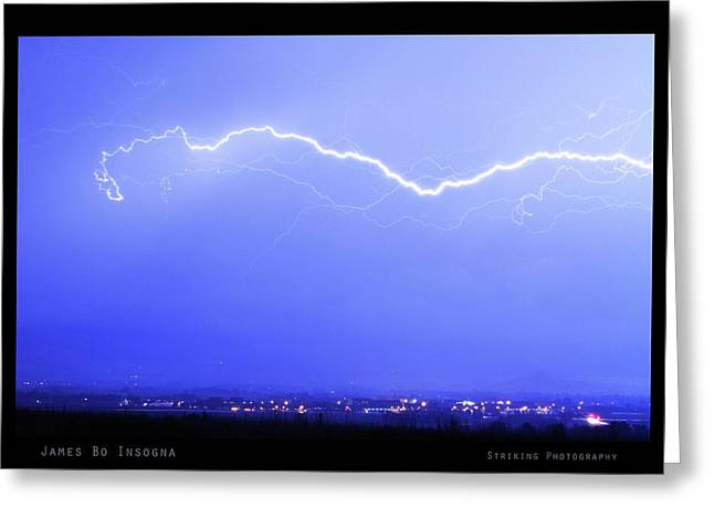 Lightning Over North Boulder Colorado  Poster Sp Greeting Card by James BO  Insogna