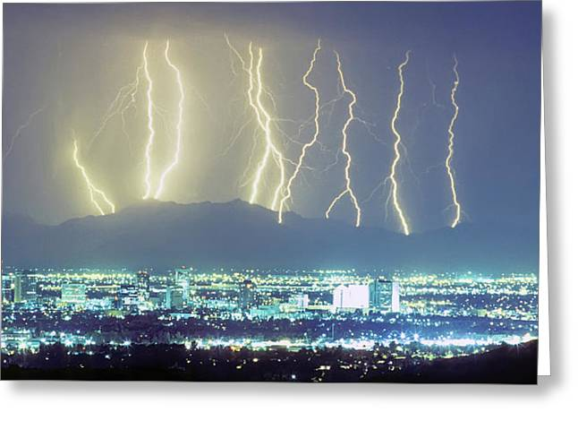 Greeting Card featuring the photograph Lightning Over Phoenix Arizona Panorama by James BO Insogna