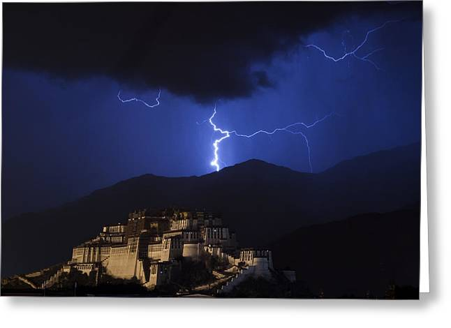 Greeting Card featuring the photograph Lightning Over Potala Palace, Lhasa, 2007 by Hitendra SINKAR