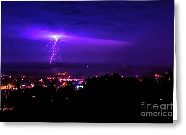 Lightning Over Superior Greeting Card by James Brown