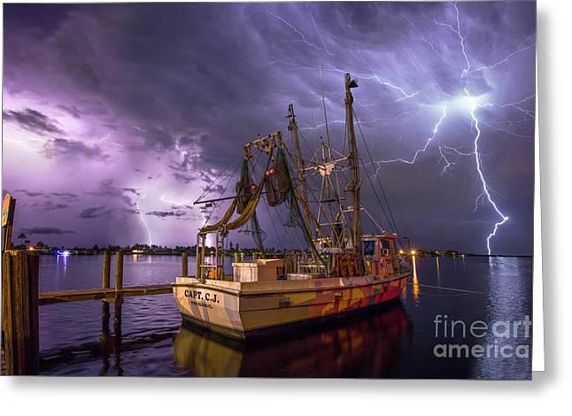 Lightning Over The Horizon Greeting Card