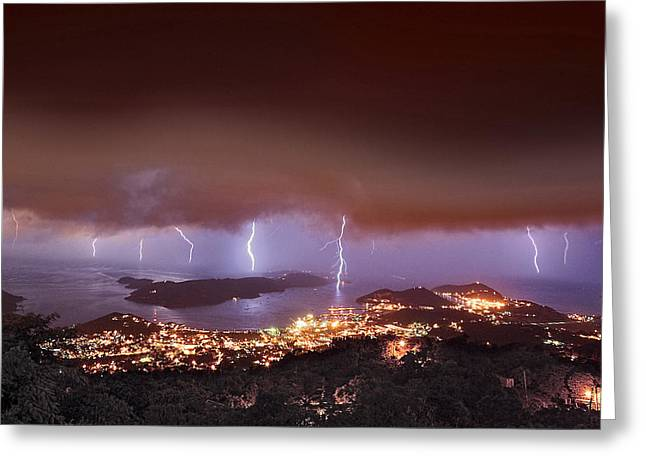 Lightning Over Water Island Greeting Card