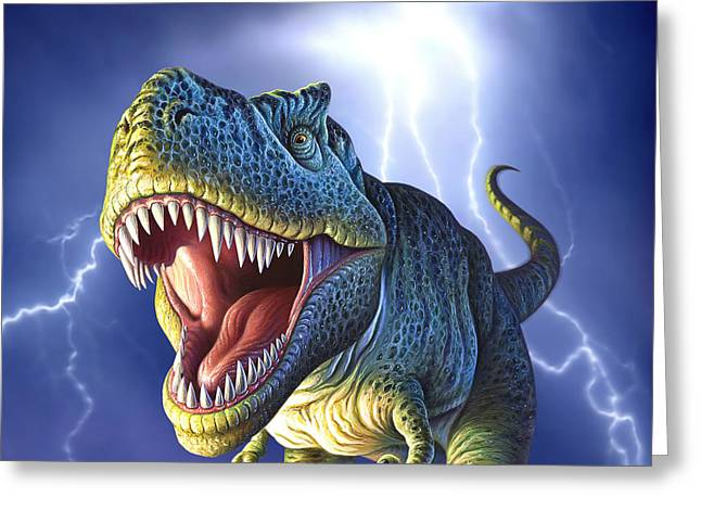 Lightning Rex Greeting Card