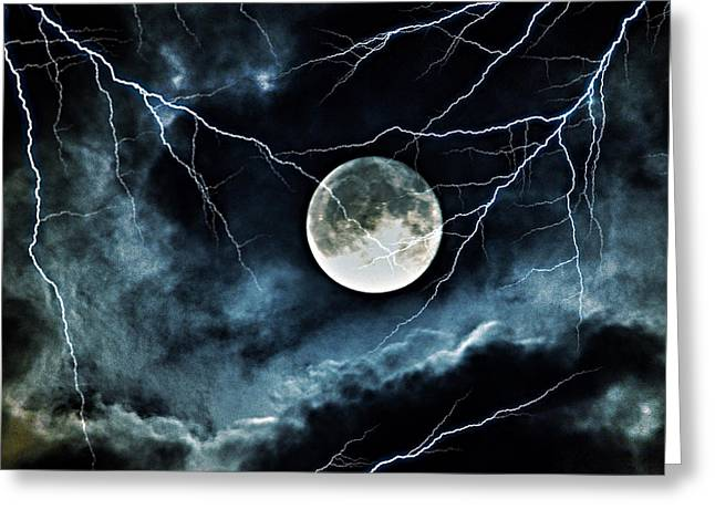 Lightning Sky At Full Moon Greeting Card
