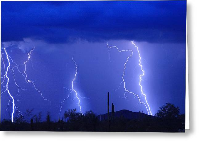 Lightning Storm In The Desert Fine Art Photography Print Greeting Card