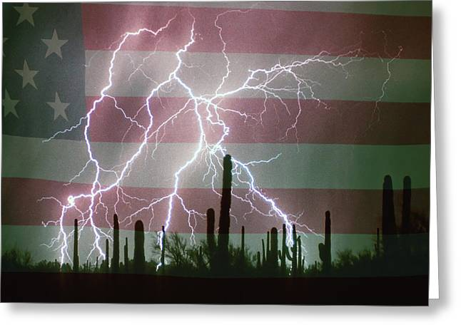 Lightning Storm In The Usa Desert Flag Background Greeting Card by James BO  Insogna