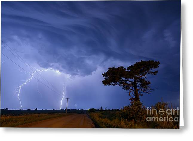 Lightning Storm On A Lonely Country Road Greeting Card