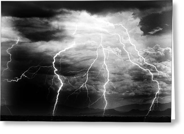 Greeting Card featuring the photograph Lightning Storm Over The Plains by Joseph Frank Baraba