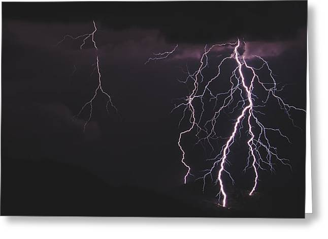 Lightning Storm Greeting Card by Pete Mecozzi