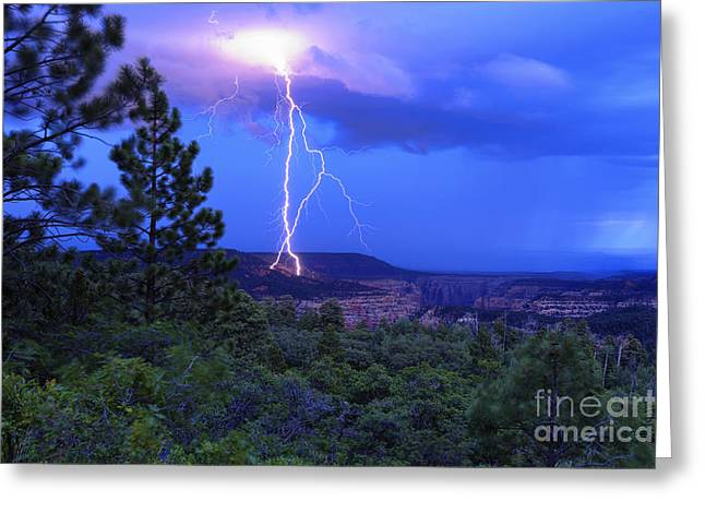 Lightning Strike Above Arch Canyon - Utah Greeting Card