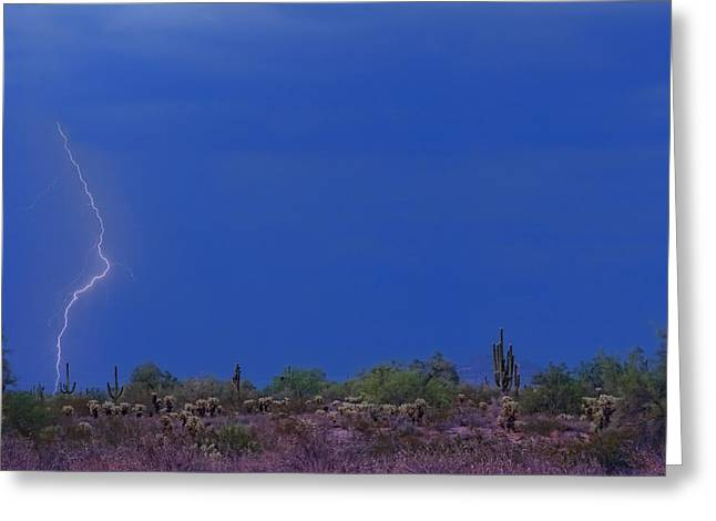 Lightning Strike In The Desert Greeting Card