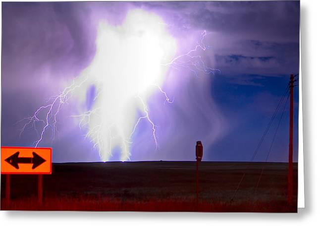 Lightning Strike Greeting Card by James O Thompson