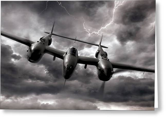 Lightning Strikes Again Greeting Card by Peter Chilelli