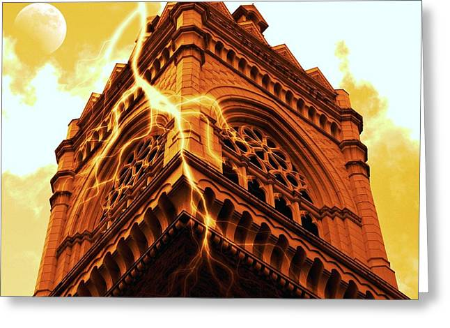 Lightning Strikes Greeting Card by Cathie Tyler