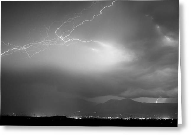 Images Lightning Greeting Cards - Lightning Strikes Over Boulder Colorado BW Greeting Card by James BO  Insogna