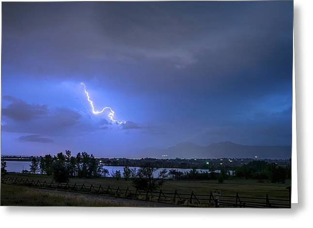 Greeting Card featuring the photograph Lightning Striking Over Boulder Reservoir by James BO Insogna