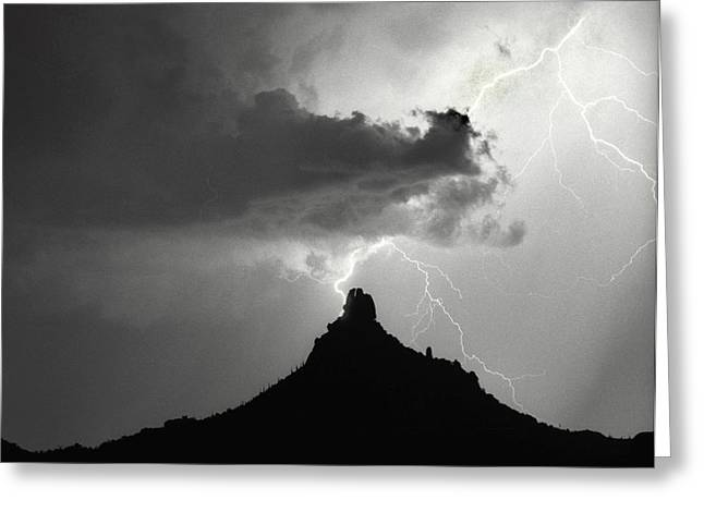 Lightning Striking Pinnacle Peak Arizona Greeting Card by James BO  Insogna