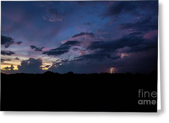 Greeting Card featuring the photograph Lightning Sunset by Brian Jones