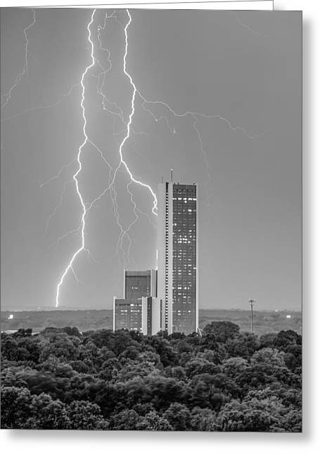 Lightning Surrounding Cityplex - Tulsa Oklahoma Black And White Greeting Card by Gregory Ballos