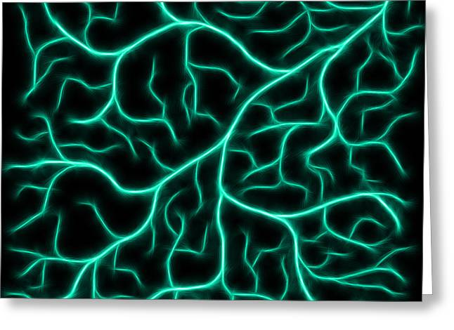 Greeting Card featuring the digital art Lightning - Teal by Shane Bechler
