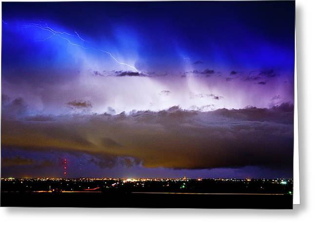 Lightning Thunder Head Cloud Burst Boulder County Colorado Im39 Greeting Card by James BO  Insogna