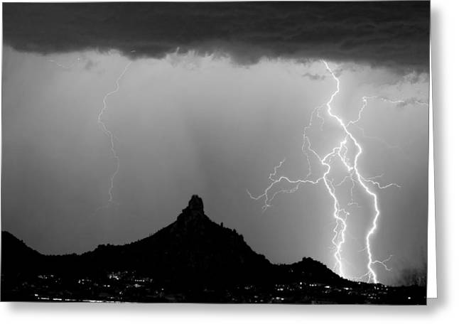 Lightning Thunderstorm At Pinnacle Peak Bw Greeting Card