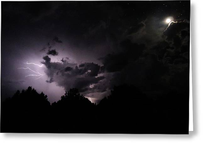 Lightning With Stars And Moon  Greeting Card by Todd Krasovetz