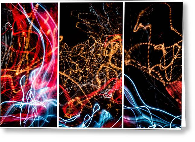 Lightpainting Triptych Wall Art Print Photograph 5 Greeting Card