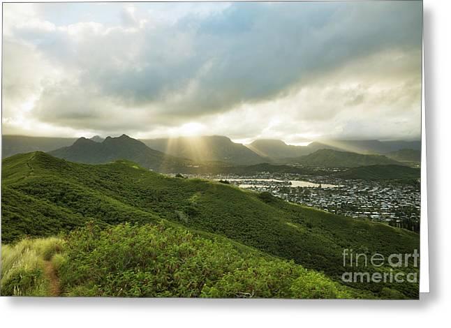 Lightrays Over Ko'olau Mountains Greeting Card