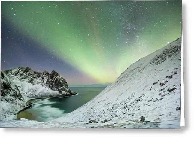 Lights Above Kvalvika Greeting Card