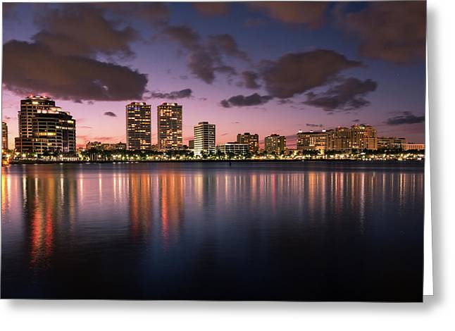 Lights At Night In West Palm Beach Greeting Card