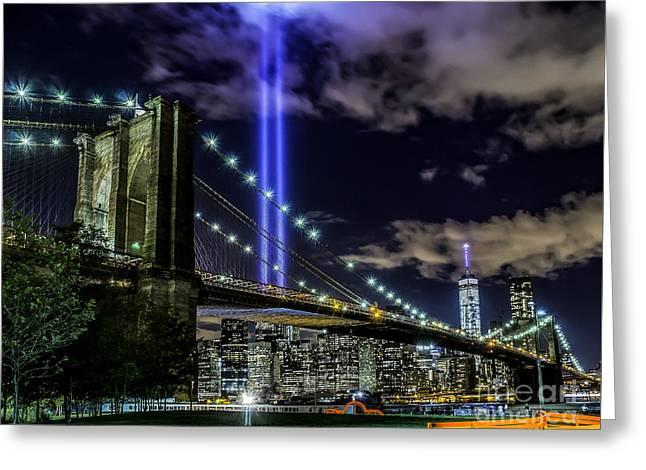 Lights At The Brooklyn Bridge Greeting Card