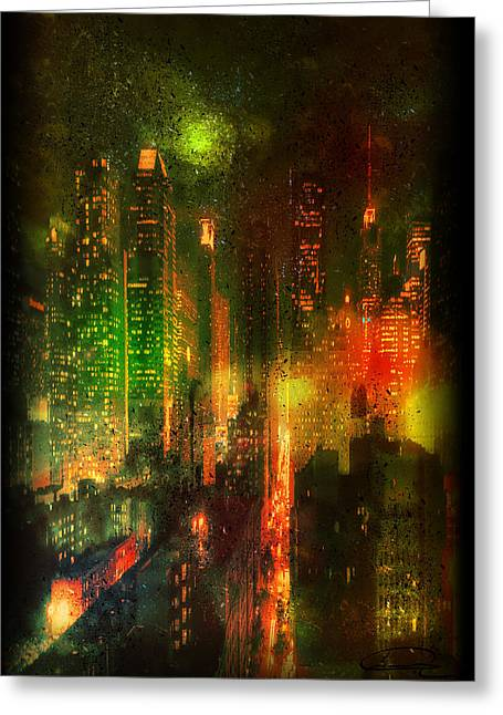 Lights In The City Greeting Card by Emma Alvarez