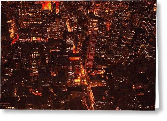 Lights In The City Look Pretty To Me Greeting Card by Diane C Nicholson