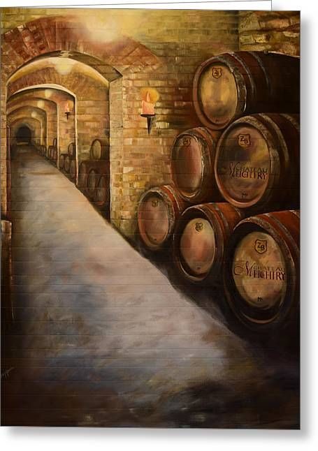 Greeting Card featuring the painting Lights In The Wine Cellar - Chateau Meichtry Vineyard by Jan Dappen