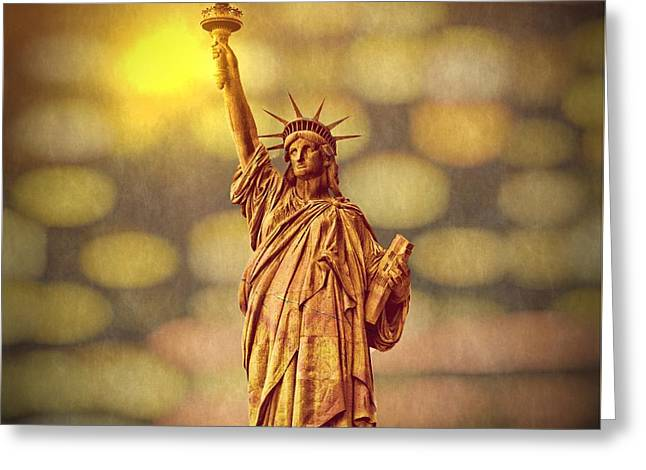 Lights Of Liberty Greeting Card
