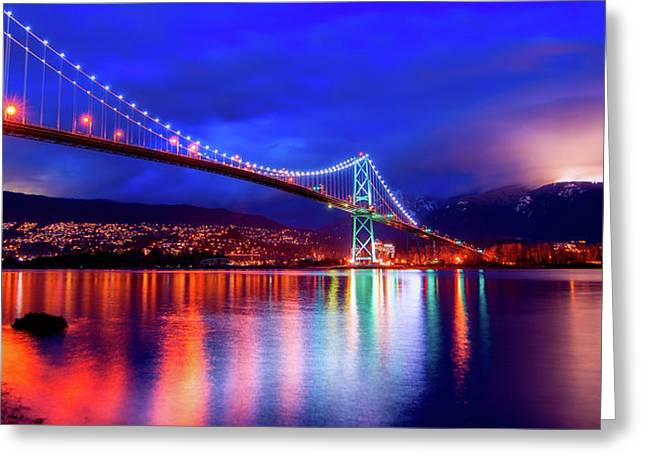 Lights Of The Bridge Greeting Card by James Wheeler