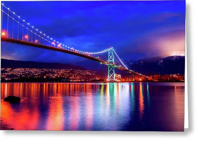 Lights Of The Bridge Greeting Card