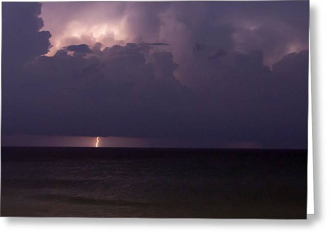 Lights Over The Ocean Greeting Card