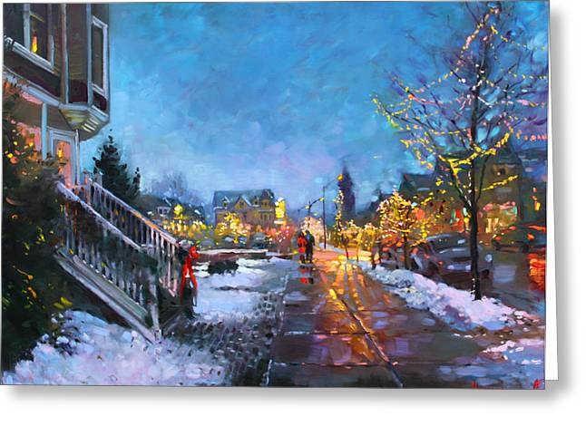 Lights On Elmwood Ave Greeting Card by Ylli Haruni