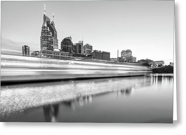 Lights On The Cumberland River - Nashville Tennessee Skyline - Black And White Edition Greeting Card