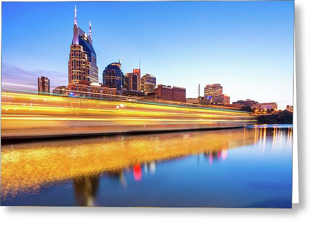 Greeting Card featuring the photograph Lights On The Cumberland River - Nashville Tennessee Skyline  by Gregory Ballos