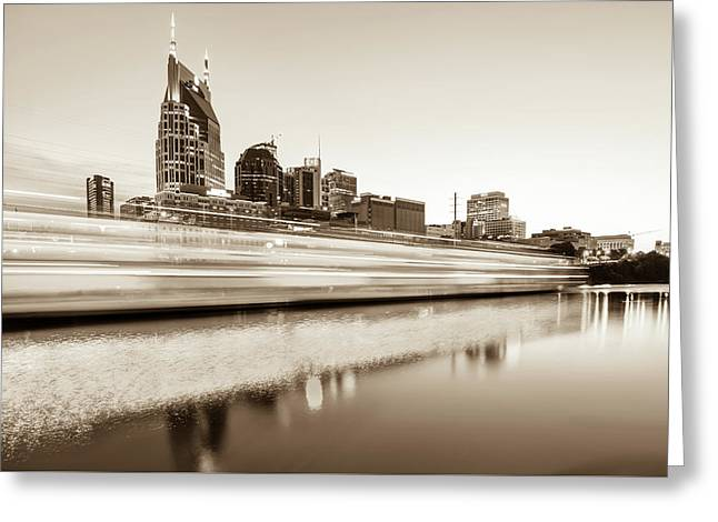Lights On The Cumberland River - Nashville Tennessee Skyline - Sepia Edition Greeting Card