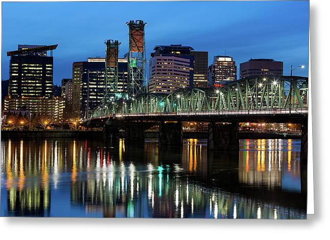 Ligth Trails On Hawthorne Bridge At Blue Hour Greeting Card by David Gn