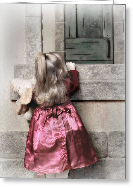 Liitle Girl In Red Greeting Card by J R Baldini