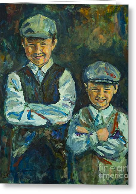 Greeting Card featuring the painting Durham Boys by Angelique Bowman