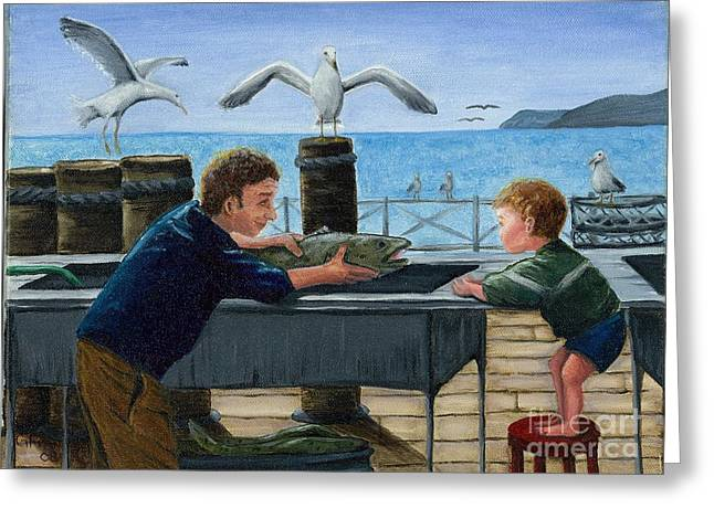 Greeting Card featuring the painting Like Father by Gail Finn