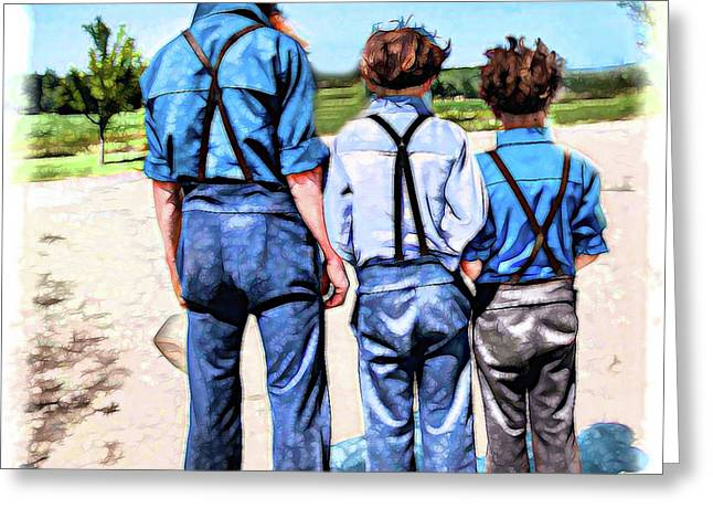 Like Father, Like Sons Greeting Card by Anne Baldwin