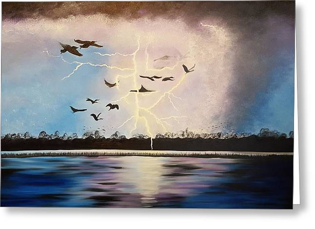 Like Lightning Greeting Card by Roxane Gabriel