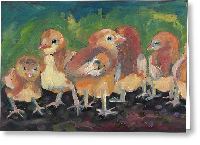 Lil' Chicks Greeting Card by Susan  Spohn